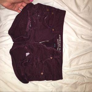 American Eagle maroon ripped shorts